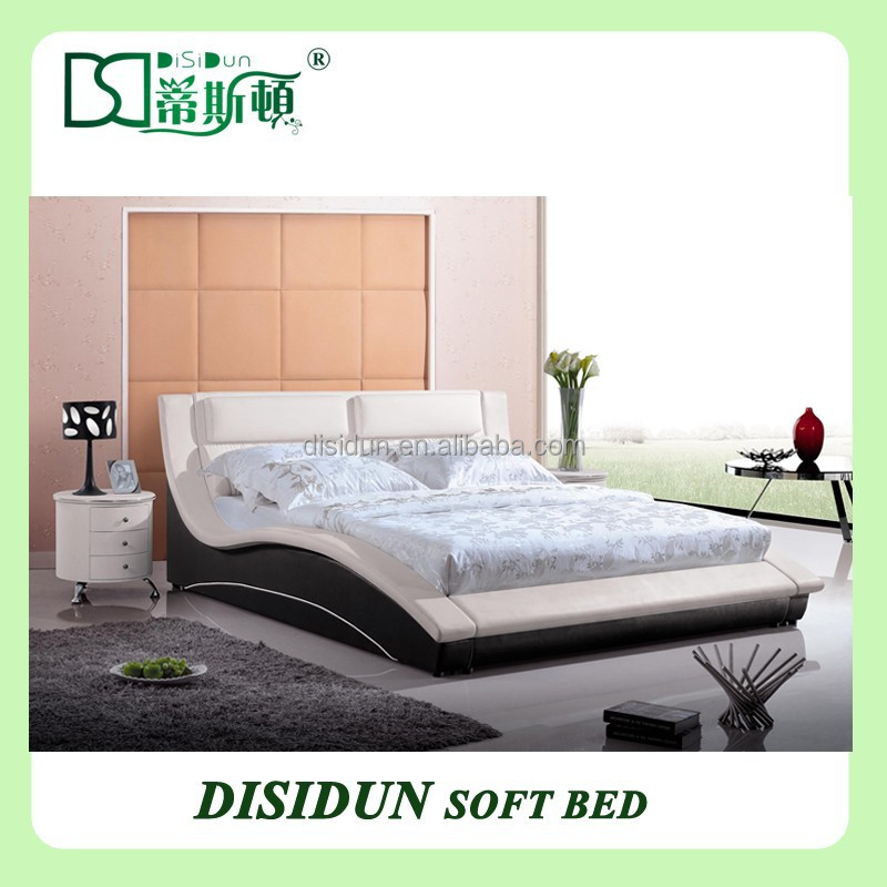 Bedroom Furniture Type and Modern Appearance vague leather king size bed black DS-1008