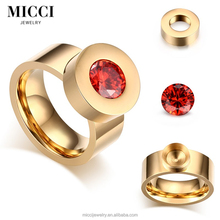 Quality Mood Stone Ring Color Change, Interchangeable Stone Mood Rings With Option Colourful AAA Cubic Zirconia