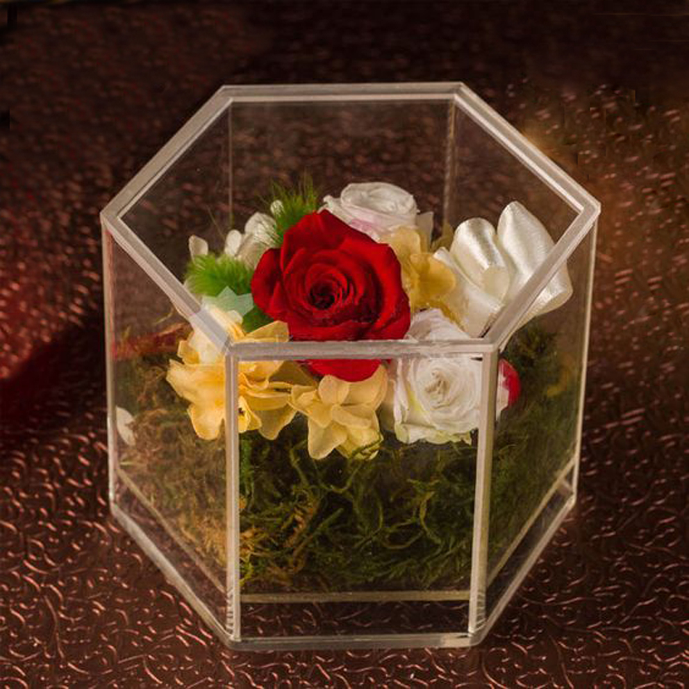 Custom Acrylic Gift Box Plexiglass Flower Box