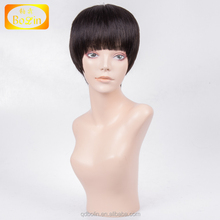 human hair full lace wig 4inch 6inch 8inch length full lace wig mono gluless wig have baby hair around