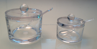 Kitchen storage box Clear Glass Lidded Condiment Pots / Spice Jars / Sugar Bowls with Spoons