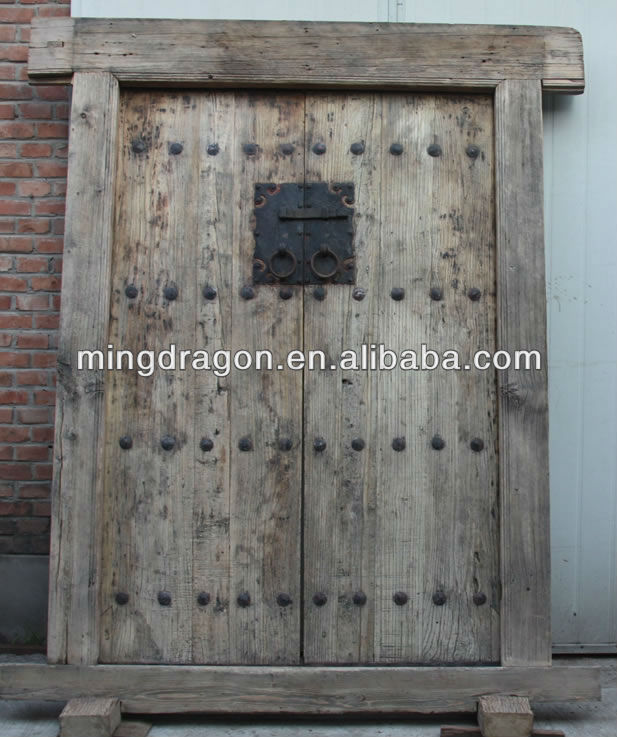Chinese natural elm wood folding antique doors