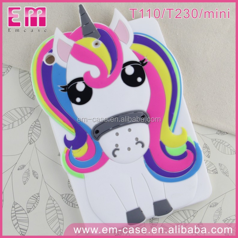 For iPad Mini/Samsung T110 T230 3D Lucky Unicorn Silicone Cover For Tablets