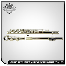 Silver Flute Musical Instrument 16 Closed Holes White Metal Flute with E Mechanism