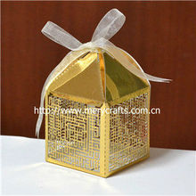 Mery custom various colors laser cut party favors ramadan favor box gold wedding favor boxes