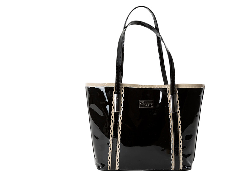 Madrid Black Leather Bag GENUINE LEATHER - FUQSIA