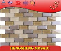 New Design Chinese Foshan Plating Strip Cube Glass Mosaic roof tiles prices
