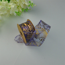 Beautiful Organza Gold Stamping Ribbon For Gift Wrapping & Wedding Decoration