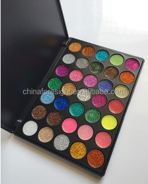 Low MOQ private label glitter eyeshadow makeup customized