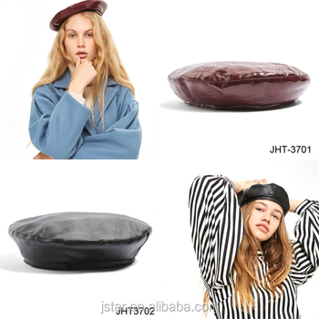 Fashion PU beret for girls