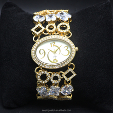 High Quality China Manufature Crystal Diamond Gold Skeleton Retro Ladies Bracelet Watches