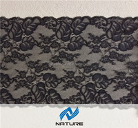 Black flower and leaf design stretched rachel lace fabrics for sexy bra making