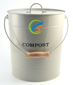 Galvanized metal kitchen compost bins with wooden handle and lid