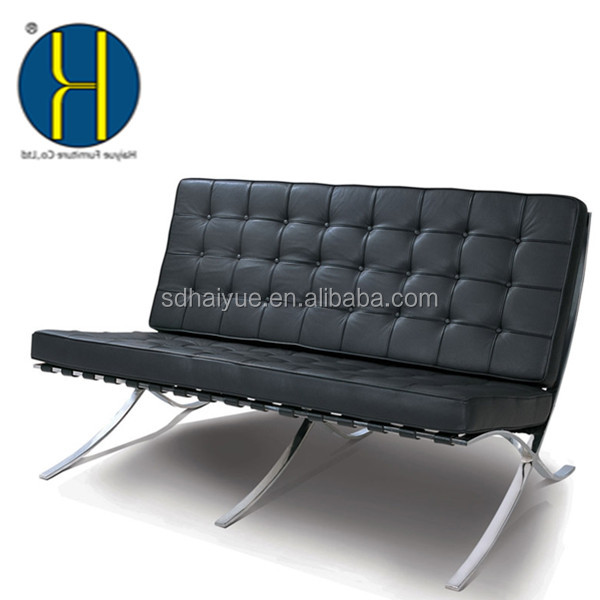 Foshan Haiyue Factory Stainless Steel Barcelona Lounge Sofa Chair In White Top Cow Leather Cover