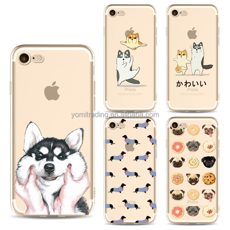 For Iphone 5s 6s 2017 Factory creative Corgi dog pattern transprent soft TPU phone case for Iphone 7/7plus