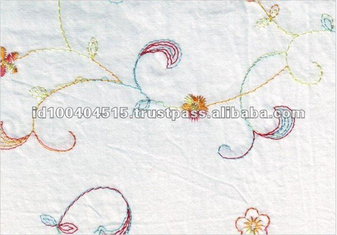 White Color Bordir Embroidered Cotton Fabric