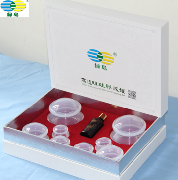 High quality Gift pack Transparent Hijama Silicone Cupping with massage oil cupping hijama TCM cupping therapy
