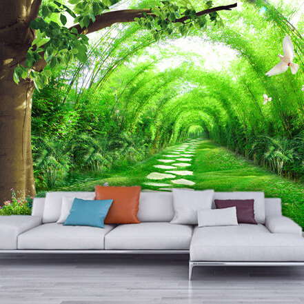 Home living room tv background 3d bamboo mural thai wall for 3d murals for sale
