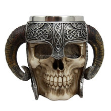 Skull With Battle Helmet Beer Stein Tankard Coffee Cup Mug