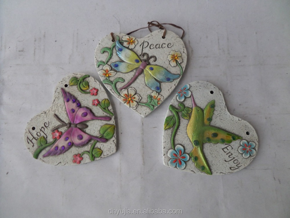 Wall-hung Cement tile in heart shape embossed Bird, Butterfly and Dragonfly