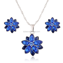 Blue/White/Pink Flower Necklace Earring Set Rhinestone Crystals for Women Jewelry