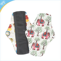 Printed PUL Charcoal Microfiber Menstrual Pads Cloth Color Sanitary Pad For Female