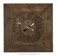 Large square wood custom home decorative wall mounted clock