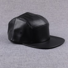 Black blank plain leather snapback cap without logo