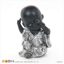 Resin Black Little Boy Shaolin Monk Figurine