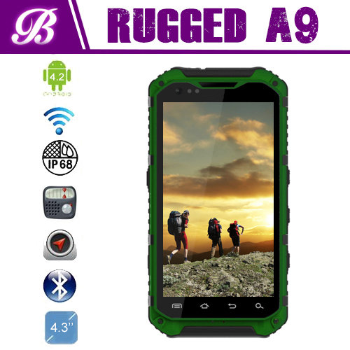 New IP68 Camera 8.0MP Battery 3000mAh Land Rover A9 MTK6589 Quad Core Rugged Android Mobile Phone with NFC