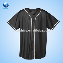 Black baseball wear,100% Polyester fashion sublimated baseball jersey,short sleeve V-neck baseball jersey printing