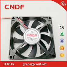 CNDF 2018 year most popular and hot sell lower power consumption new energy cooling fan 80x80x15mm 12VDC 24VDC