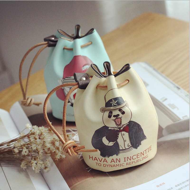 New Korean Style Mini Women Wallet Animal Printing Drawstring Lady Coin Purse