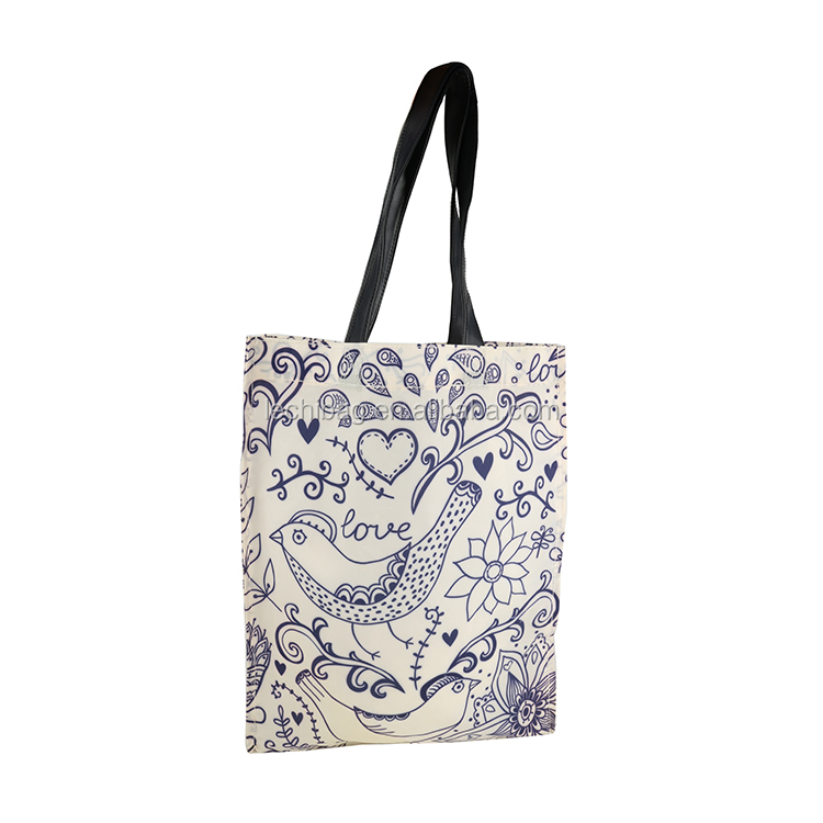 Funny printing promotion waterproof peva coated shopping tote bags