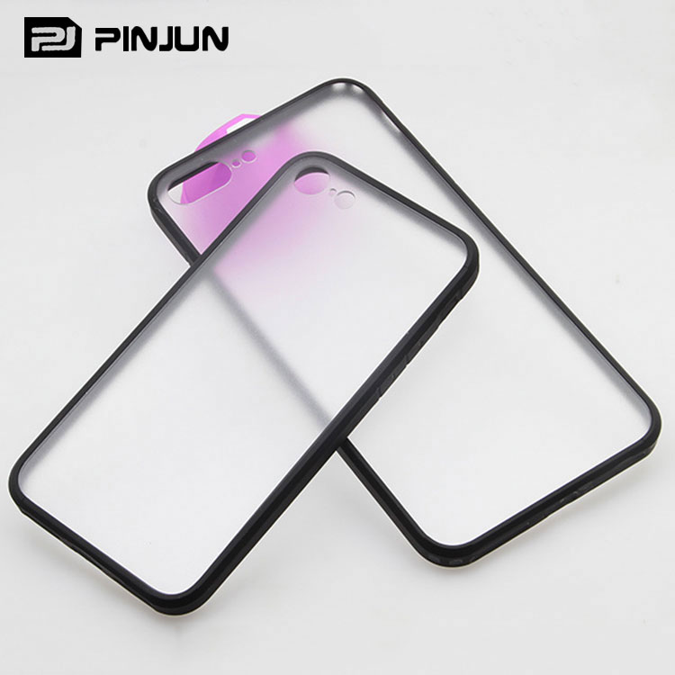 anti-skidding frosted phone case for iphone 7 hybrid clear pc tpu case