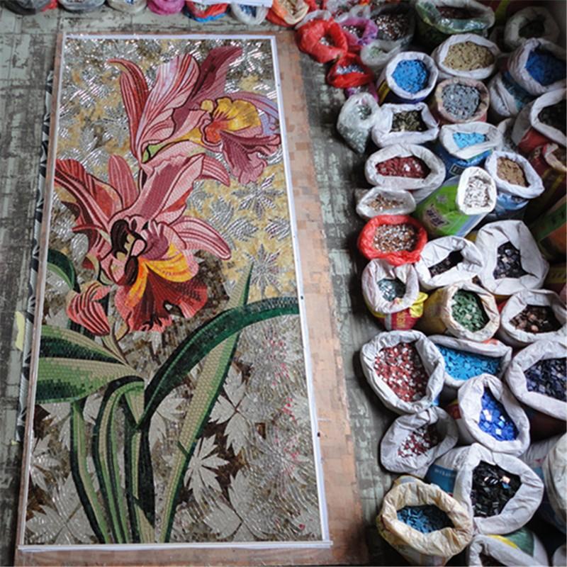 lj jy jh yw01 b dekorativen k che fliesen glas mosaikkunst wand wandbild von rosa blume mosaik. Black Bedroom Furniture Sets. Home Design Ideas
