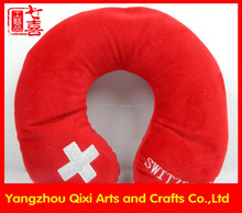 Switzerland flag embroidered micro beads neck pillow red color folding neck pillow filled with polystyrene beads