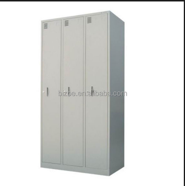 Factory direct school locker 3 door steel metal wardrobe cabinet