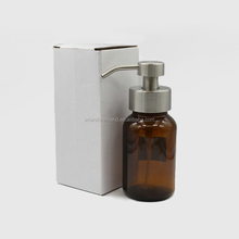 width mouth neck Glass amber bottle in 250ml with stainless steel pump for shampoo