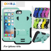 2 in 1 pc silicone hybrid armor drop resistance protective case for iphone 6 / iphone 6s kickstand stand cover