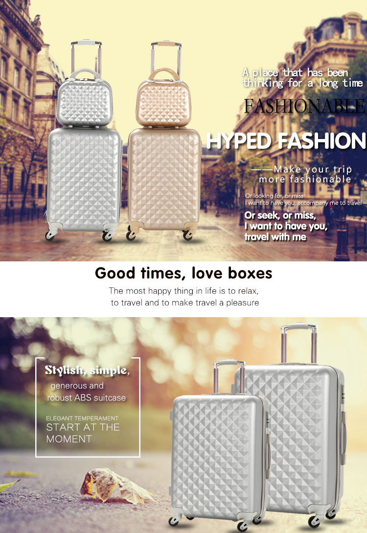 2018 new design diamond lines ABS luggage case cheap PC trolley bag