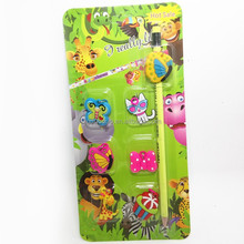 Promotional back to school stationery set plastic pencil with custom pvc charms