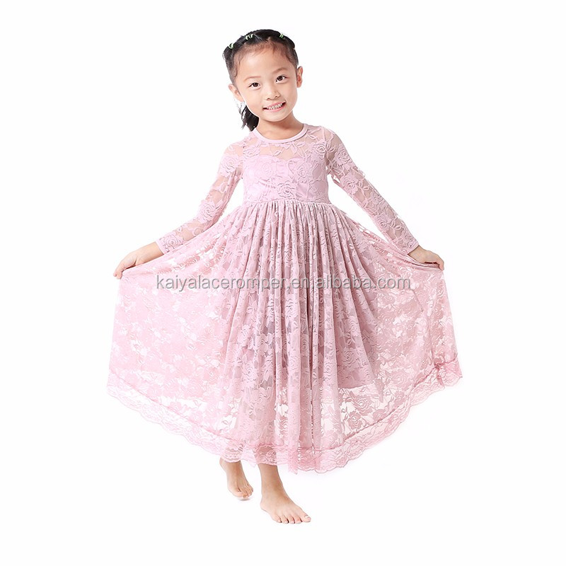 Long Sleeve Lace Dress For Party/birthday/wedding Baby Frock Design Pictures