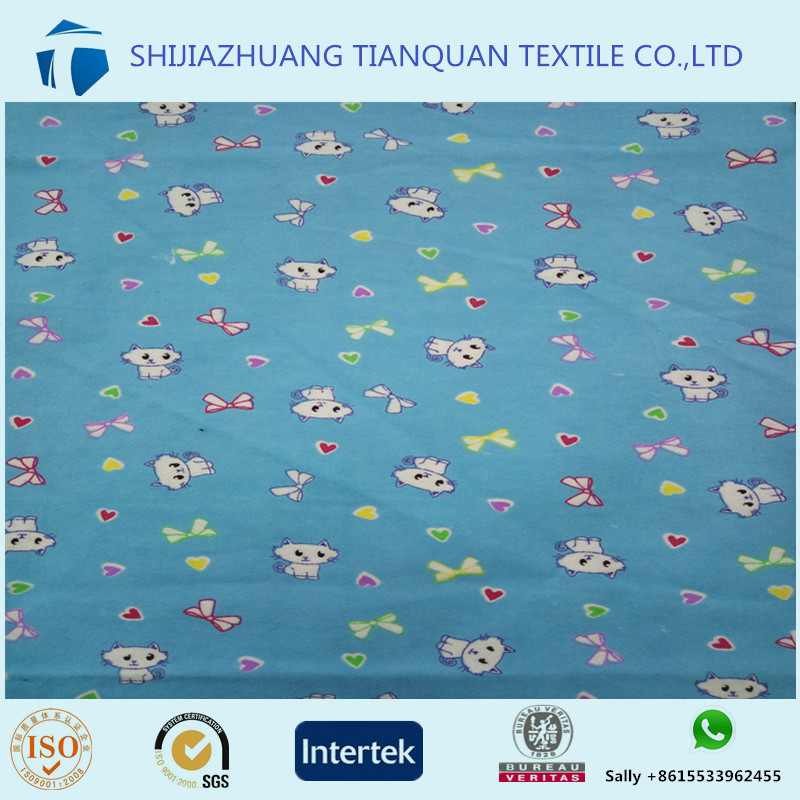 100% cotton custom cat print flannel blanket fabric made in China