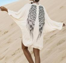 M133 dingyang2016 fashion ladies summer the eagle wings printing bat sleeve white blouse