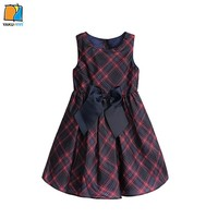 YAKUYIYI girls Bow Plaid A line Dress Sleeveless Crew Neck Princess Cute Kid Dress Vestidos Children Clothing for Wholesale