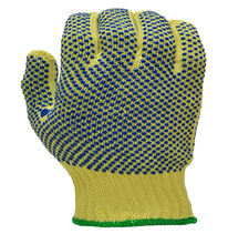 Aramid cut resistant glove with PVC dots on both sides