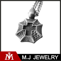 Fashion Stainless Steel Shield Cross Mens Necklace Pendant