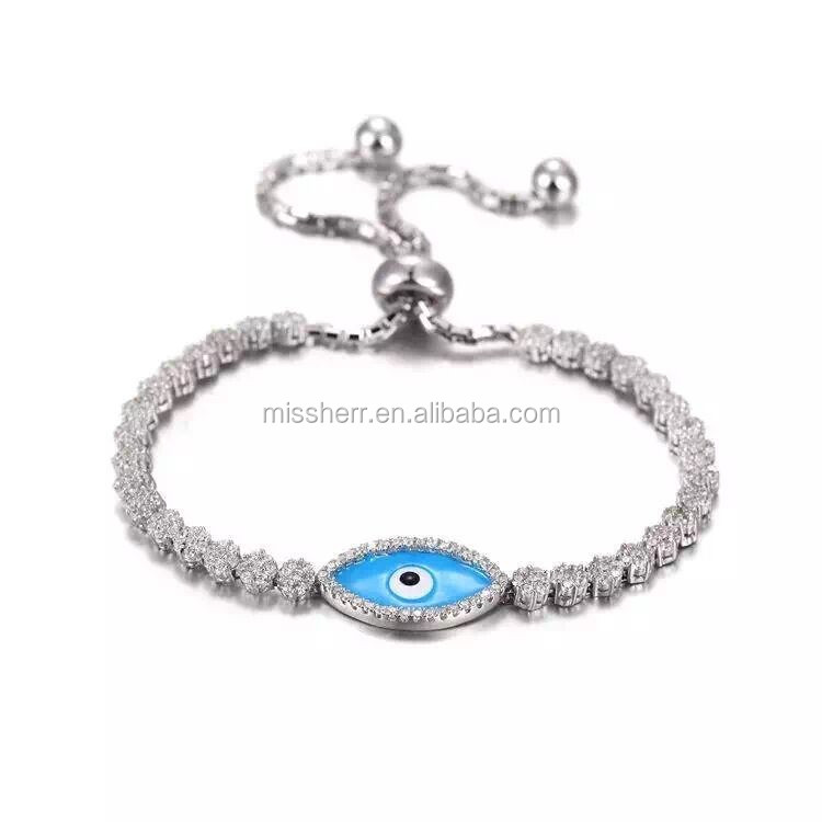 Delicate women bracelet jewelry wholesale Evil eye bracelet 925 sterling silver