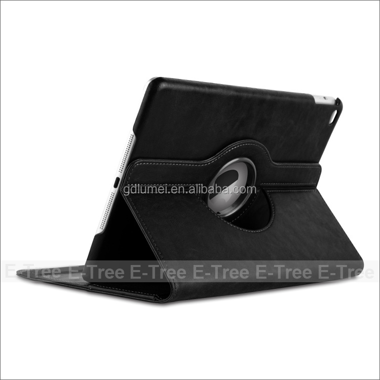 Black PU Leather Wallet Flip Case Cover For iPad 4 5 6 360 Degree Rotation Full Sleep Wake Function